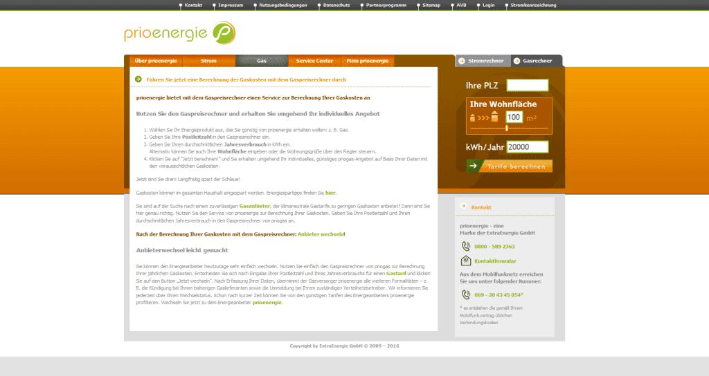 Die Webseite von Prioenergie