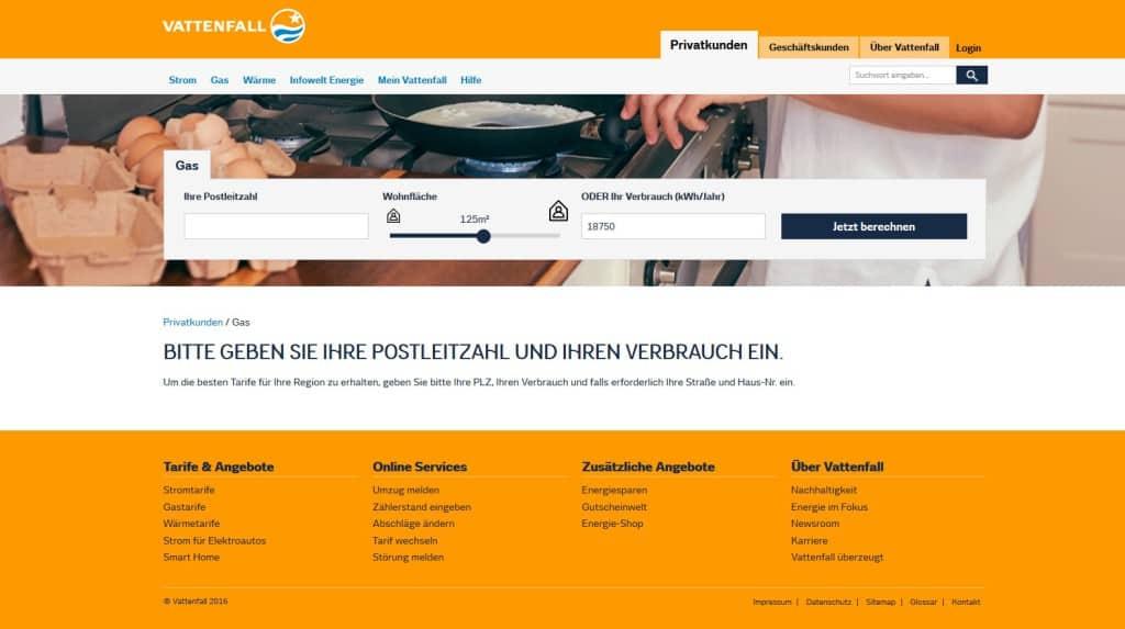 Vattenfall Gas Webseite